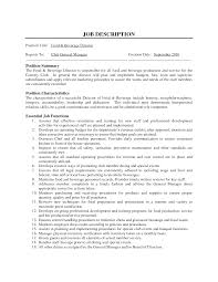 Resume Job Duties Examples Dining Restaurant General Manager Job Description Hotel General