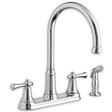 portsmouth 2 handle high arc kitchen faucet with side spray