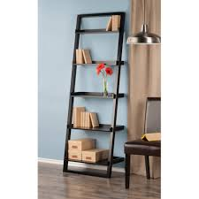 leaning wall 5 shelf bookcase black walmart com