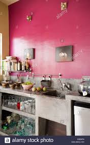 English Home Interior Design Pink Kitchen With Polished Cement Workbench In Baja Home Of