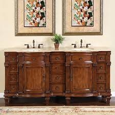 72 inch large double sink vanity cabinet with travertine top