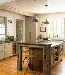 aged kitchen island design with antique pendant lamps and rustic