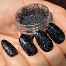aliexpress com buy holographic laser black nail art glitter