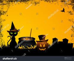 halloween background witchs cat cauldron pumpkin stock vector
