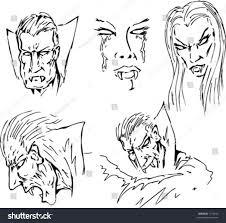 vampire fangs spirit halloween vector lineart various vampire faces male stock vector 1170930
