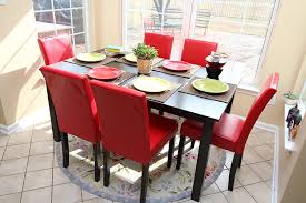 amazon com 7 pc red leather 6 person table and chairs red dining