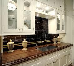 Zebra Wood Kitchen Cabinets Wood Countertops White Cabinets Black Backsplash New House