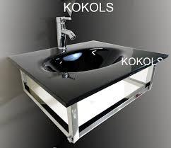 In Modern Bathroom Wall Mount Black Tempered Vessel Sink Top Combo - Black bathroom vanity with vessel sink