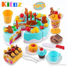 Kids Plastic Play Kitchen by Kitoz Happy Cutting Mini Cake Sweet Toy Miniature Food For Doll