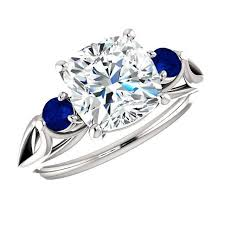 black friday jewelers 8mm cushion forever one moissanite u0026 blue sapphire engagement ring