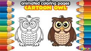 animated coloring pages how to draw cute cartoon owl bird youtube