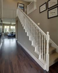 Gray Floors What Color Walls by Love The White Banister Wood Floors And The Wall Color Exactly