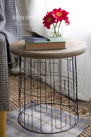 Diy Simple End Table by Diy Accent Table From A Wire Laundry Basket Wire Basket Wood