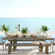 West Elm Outdoor by Portside Dining Bench Weathered Grey West Elm Au
