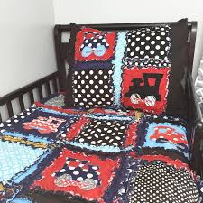 train crib and toddler bed rag quilt and standard size pillow sham