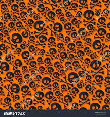 halloween cute background cute black skulls crossbones seamless pattern stock vector