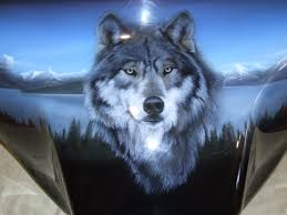 Wolf Mural by Airbrush Art Wolf Centre Piece Airbrush Art