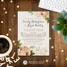 Editable Wedding Invitation Cards Free Floral Wedding Invitation Printable Gentle Cream Roses Rustic