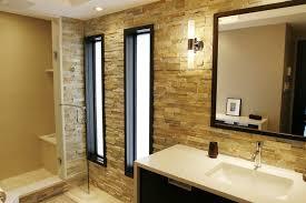 beige and brown bathroom tiles sleek dark gray wall painted cool