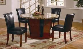 round genuine marble dining room furniture w leather seats
