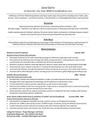 core skills and work experience in marketing internship resume samples with retail sales professional