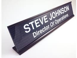Custom Desk Name Plates by Personalized Carbon Fiber Look Desk Name Plate With Black Aluminum