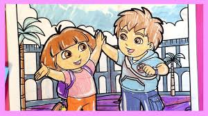 dora the explorer and diego coloring pages 02 by