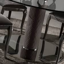 italian nubuck leather round glass dining table and chairs set