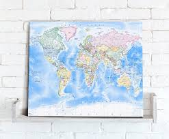 World Map Canvas by Map Canvas Political World Map Traditional From Love Maps On