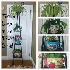 create a plant stand from an old lamp u2014 plucking daisies