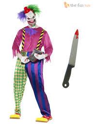mens scary killer clown costume mask knife halloween