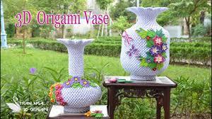 3d origami vase diy handmade vase decoration youtube