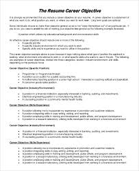 Sample Career Objectives For Resumes by Sample Good Resume Objective 8 Examples In Pdf Word