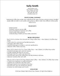 Resume Templates  Coffee Shop Worker MyPerfectResume com