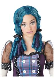 broken doll halloween costume blue purple doll curls wig