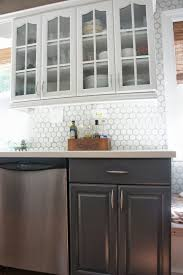 remodelaholic gray and white kitchen makeover with hexagon tile