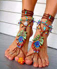 Made to order PEACOCK Feather BAREFOOT sandals Toe Ankle bracelet Bea… - Downloadable