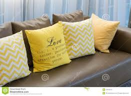 Brown And Yellow Living Room by Living Room With Brown Sofa And Yellow Pillows Stock Photo Image