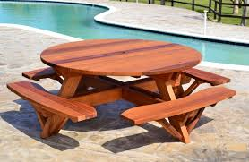 Plans To Build A Picnic Table Bench by Round Wooden Picnic Table With Attached Benches