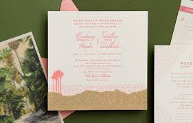 retro coral and olive palm springs wedding invitations