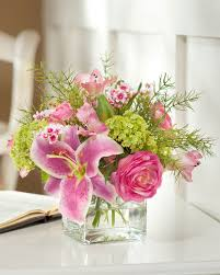 dining room fabulous shine glass artificial flower arrangements