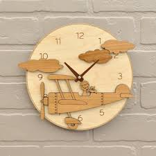 airplane wooden wall clock airplane with name baby nursery theme