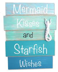 Coastal Bathroom Decor Mermaid Kisses And Starfish Wishes Plank Sign Wood Planks