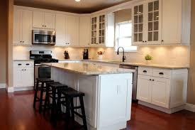 Cream Subway Tile Backsplash by Kitchen Black N White Kitchen Beaded Cabinet Doors L Shaped