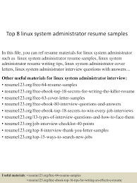 Resume Sample Pdf by Top8linuxsystemadministratorresumesamples 150516013925 Lva1 App6891 Thumbnail 4 Jpg Cb U003d1431740409
