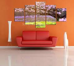 online get cheap oriental landscaping aliexpress com alibaba group 5 panel home decorative painting mural art canvas painting hd full oriental cherry tree for living room in cheap price unframed