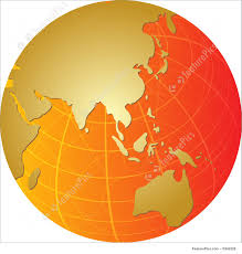 Map Of Asia by Map Of Asia On Globe Illustration