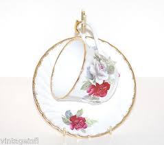 tea cup saucer duchess england bone china blue roses gold trim