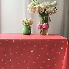 nappe ronde enduite 160 nappe en coton enduit fleur de soleil confettis corail
