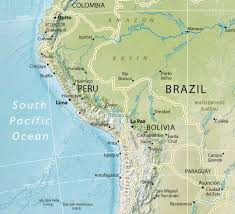 Physical Map Of South America by South America